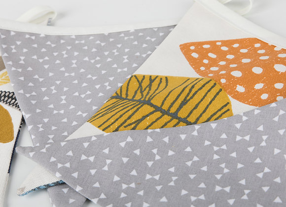 Grey and Bontanical Leaf Print