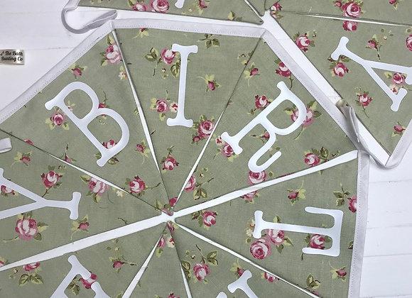 CUSTOM Handmade HAPPY BIRTHDAY green and pink flowers Bunting Banner