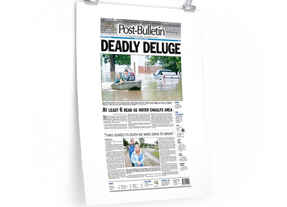 August 20, 2007 Post Bulletin Front Page Poster - Deadly Deluge
