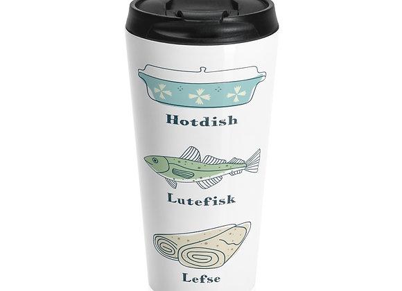 Hotdish, Lutefisk and Lefse Stainless Steel Travel Mug