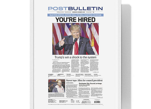 November 9, 2016 Post Bulletin Front Page Framed Poster - Trump Wins Election