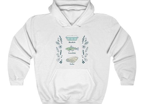 Hotdish, Lutefisk and Lefse Unisex Hooded Sweatshirt