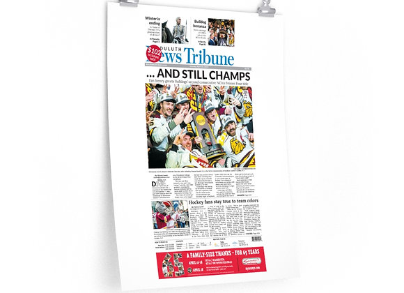 April 14, 2019 DNT Front Page Poster - Bulldogs Win Frozen Four Title
