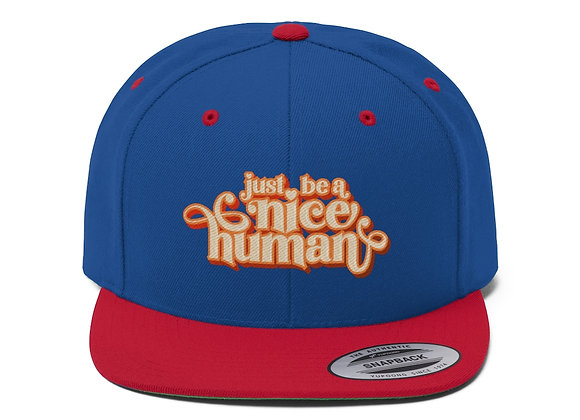Be a Nice Human Flat Bill Baseball Cap