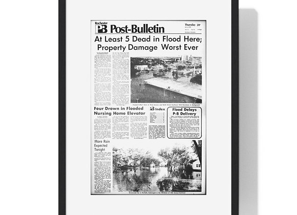 July 6, 1978 Post Bulletin Front Page Framed Poster - Historic Flood