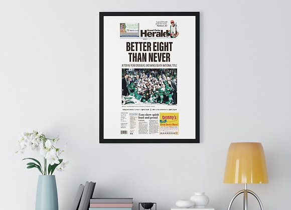 April 10, 2018 GF Herald Front Page Framed Poster - UND Wins National Title
