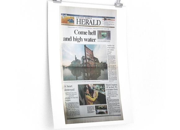 April 21, 1997 GF Herald Front Page Poster - '97 Flood