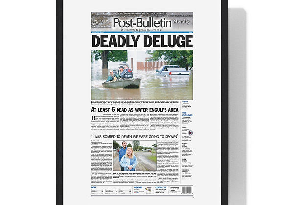 August 20, 2007 Post Bulletin Front Page Framed Poster - Deadly Deluge