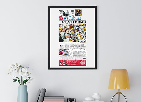 April 14, 2019 DNT Front Page Framed Poster - Bulldogs Win Frozen Four Title