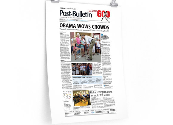 August 16, 2011 Post Bulletin Front Page Poster - Obama Visits Minnesota