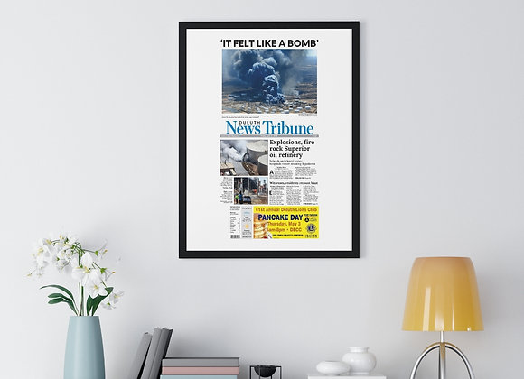 April 27, 2018 DNT Front Page Framed Poster - Husky Energy Explosion