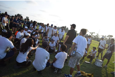 Students gathered on field