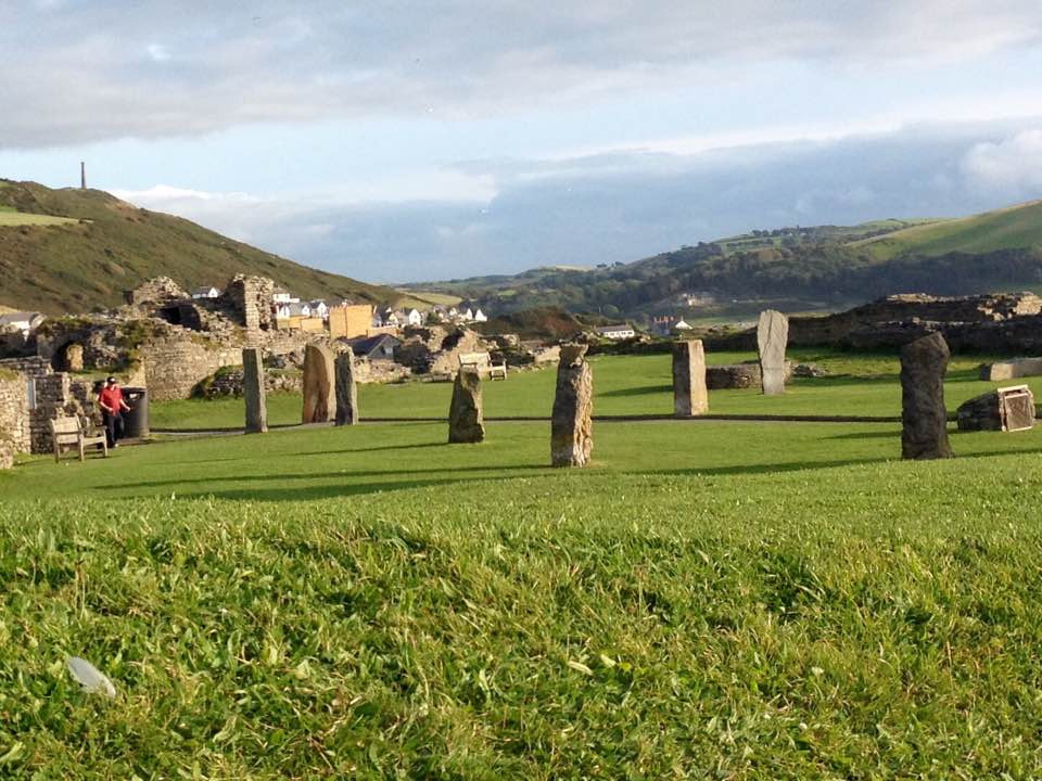 Standing stones at Aberystwyth Castle, Wales.
