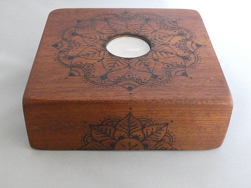 Sapele Wood Night Light Holder with pyrography mandala design