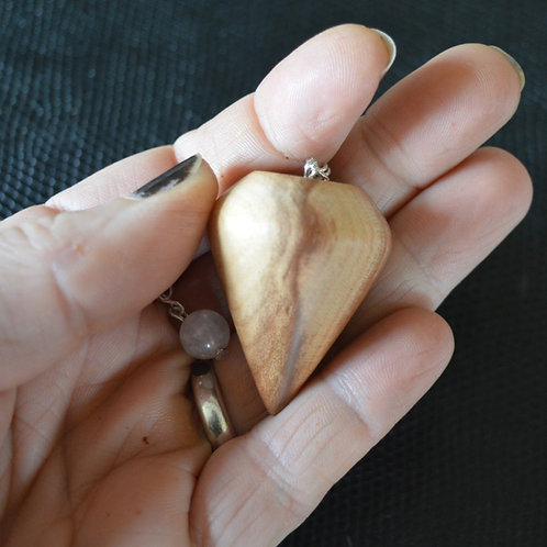 Wooden Pendulum English Plum Wood handturned in Devon for dowsing and divination