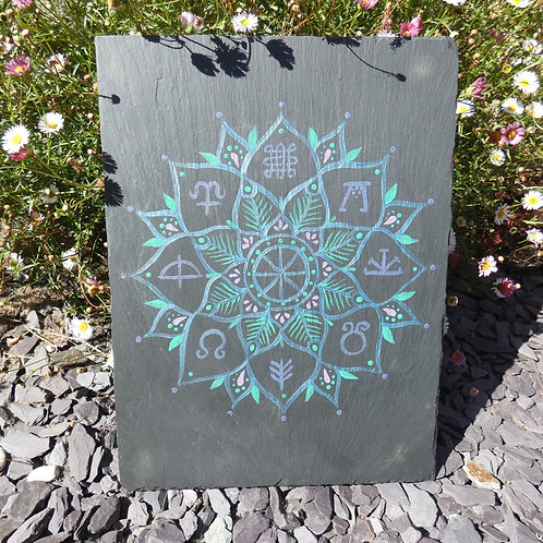 Mandala with Wheel of the Year Original Painting on Recycled Slate