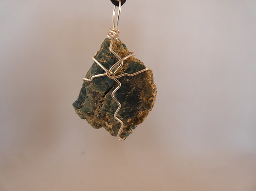 Blue Apatite Raw Crystal Pendant or Amulet on adjustable cord