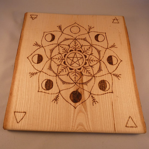 English Ash Wood Crystal Grid with Pentacle and Moon Phases