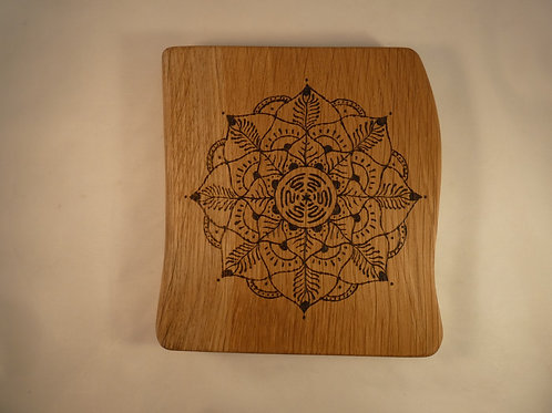 English Oak Wood Crystal Grid with Hecate's Wheel mandala design