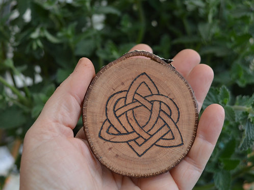 Wooden Amulet with Celtic Love Knot pyrography design