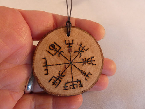 Wooden Amulet with Viking Compass or Vegvísir Symbol on Found Wood
