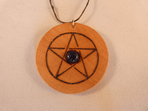 Wooden Amulet with Blue Goldstone Crystal on Found Wood with Pentacle pyrography