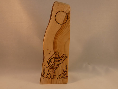Wooden Amulet on English Yew Wood with Moon Gazing Hare and Lunar Cycle Design
