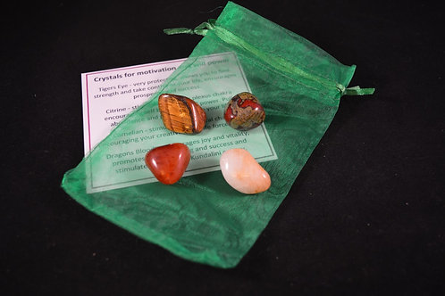 Crystal Healing Kit for Encouraging Motivation and Will Power incl tumble stones