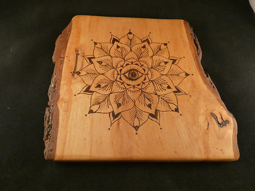 English Alder Wood Crystal Grid with Peacock mandala design - Pagan, Wicca,