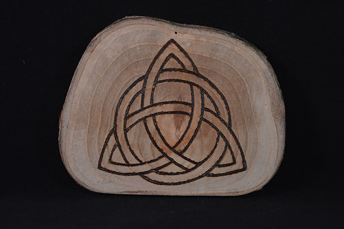 Triquetra Amulet on found wood with pyrography design - Pagan, Wicca