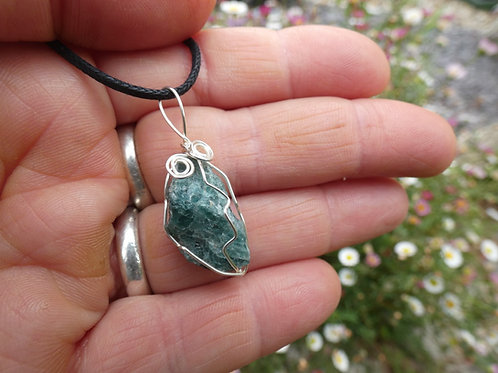 Green Apatite Crystal Pendant raw crystal on adjustable cord