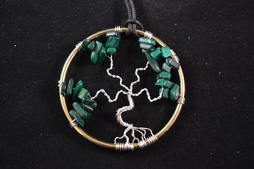 Tree of Life Amulet with Malachite Crystal chips - small size