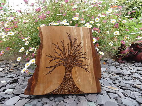 Wooden Altar Amulet on English Alder Wood with Tree of Life