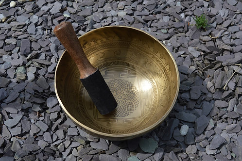 Singing Bowl with Decorative Carving Traditional Hand Beaten from Nepal