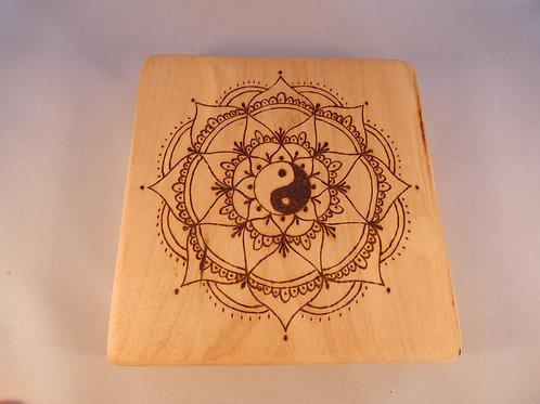 Wooden Crystal Grid made from Bass Wood with Yin Yang mandala design