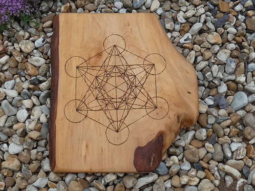 Wooden Crystal Grid made from English Alder Wood with Metatron's Cube