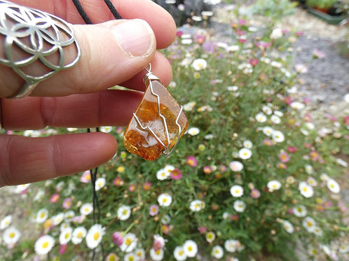 Amber Crystal Pendant polished crystal on adjustable cord