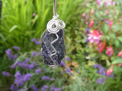 Blue John (Fluorite) Crystal Pendant polished crystal on adjustable cord