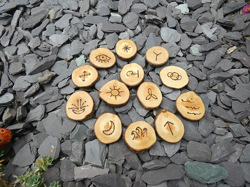 Witches Runes crafted from English Blackthorn Wood