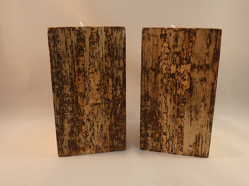 Ash Wood Night Light Holders (pair) 12.5cm with natural spalting