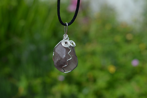 Lithium Quartz Polished Crystal Pendant or amulet