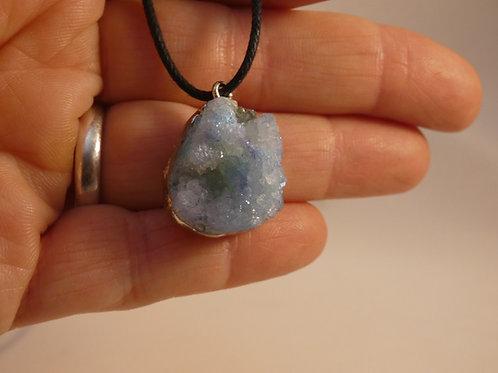 Quartz Aura Geode Crystal Pendant or Amulet electroplated crystal