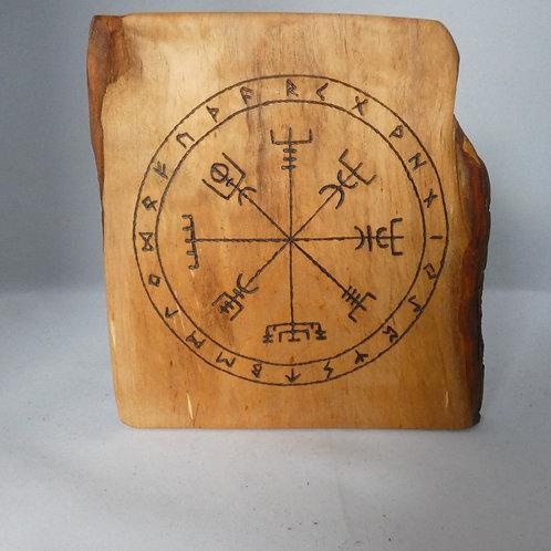 Wooden Altar Amulet on English Alder Wood with Vegvísir Symbol