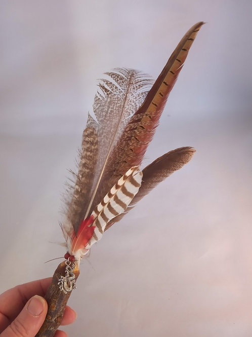 Ceremonial Smudge Fan Cherry handle crafted with cruelty free feathers