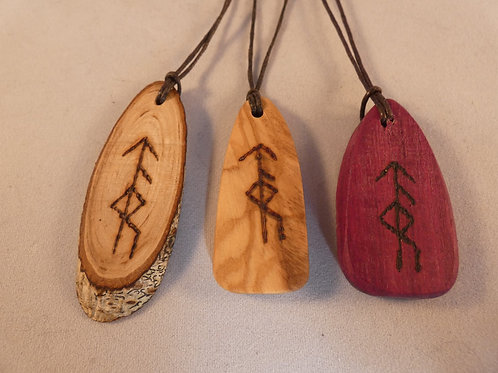 Wooden Bind Rune Amulet for Courage and Strength pyrography design
