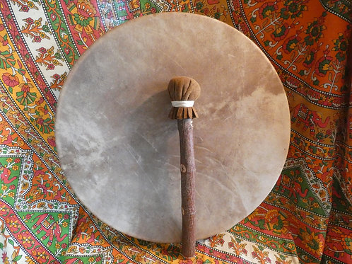 "Shamanic Drum and Beater 16"" Round Brown"