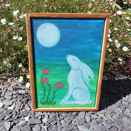 Moon Gazing Hare Original Artwork Canvas with Recycled wood frame