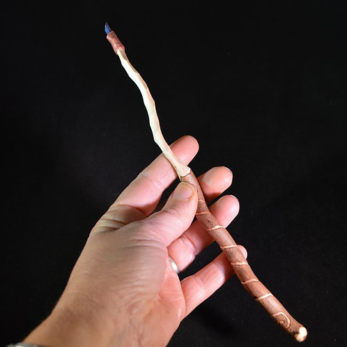 Wooden Wand made from Twisted Willow with Cobalt Aura Quartz crystal