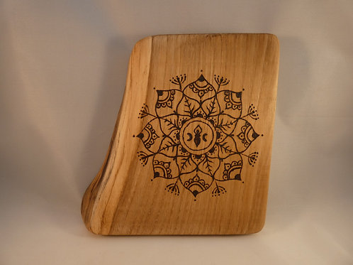 Wooden Crystal Grid made from English Chestnut Wood with Triple Moon Goddess
