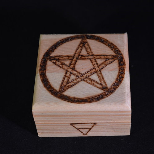 Wooden Altar Manifestation Box with Pentacle Symbol